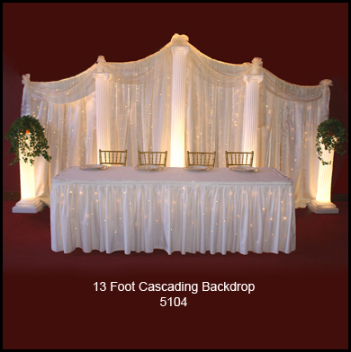 Cascading 13' Backdrop with Lighted Columns and Mini Lights