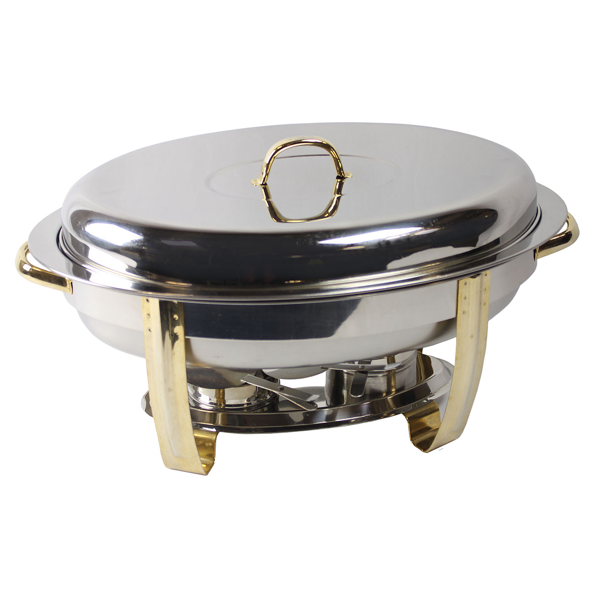 Chafer 6qt Oval with Brass Trim
