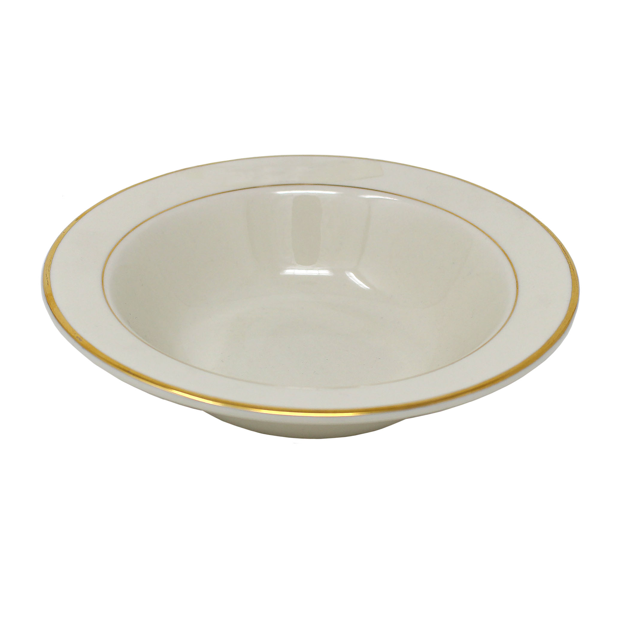 "Salad Soup Bowl Beige With Gold Band 7"" 11.5 Oz"