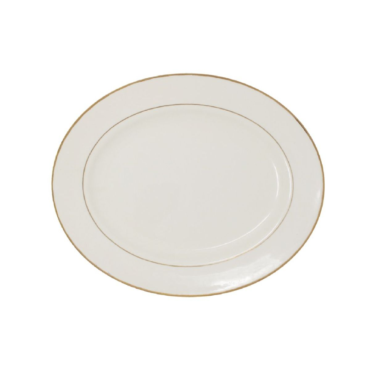 Platter Beige With Gold Band 12""