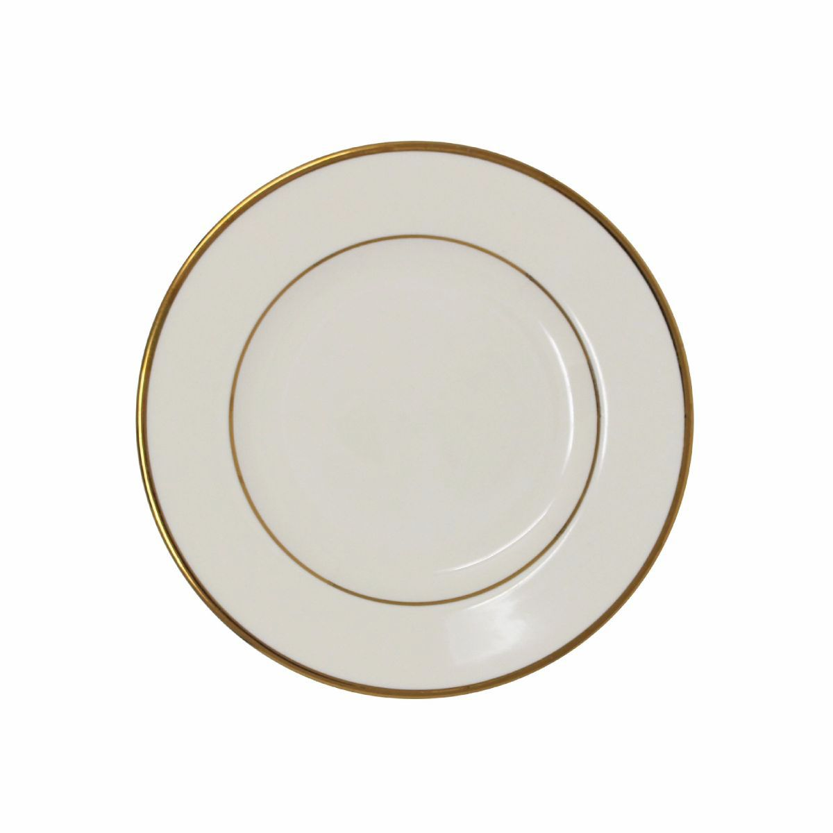 Bread & Butter Plate Beige With Gold Band 6""