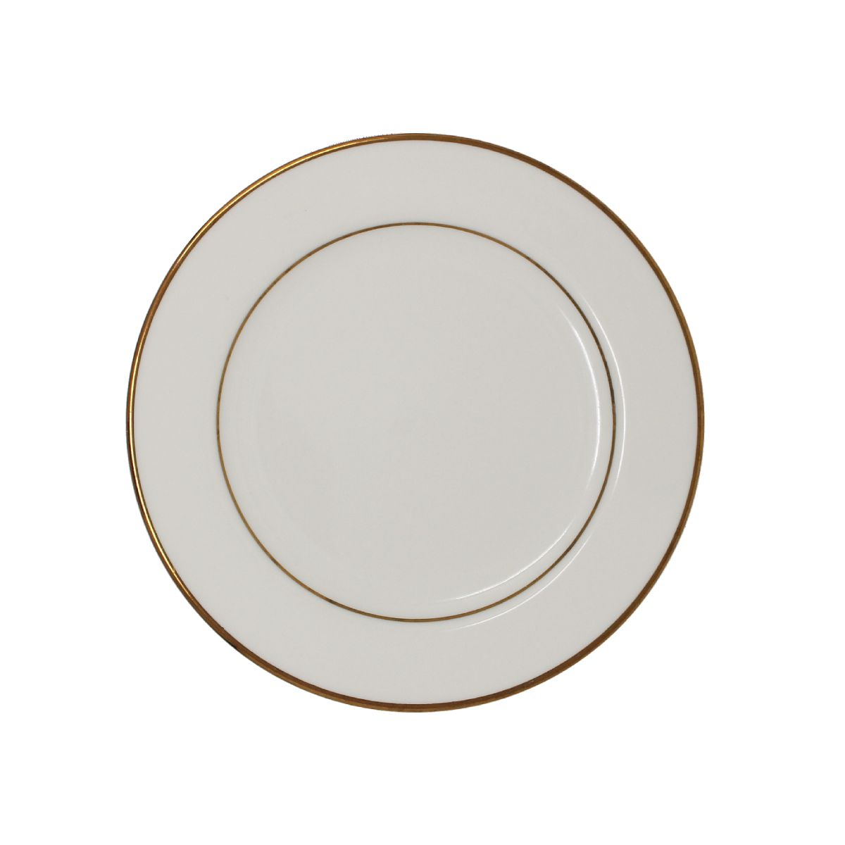 Salad Dessert Plate Beige With Gold Band 7""