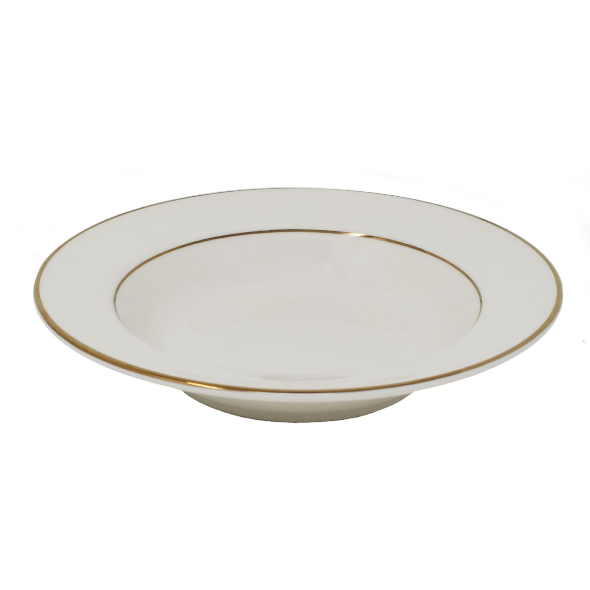 Salad Soup Bowl Flat Beige With Gold Band 8""