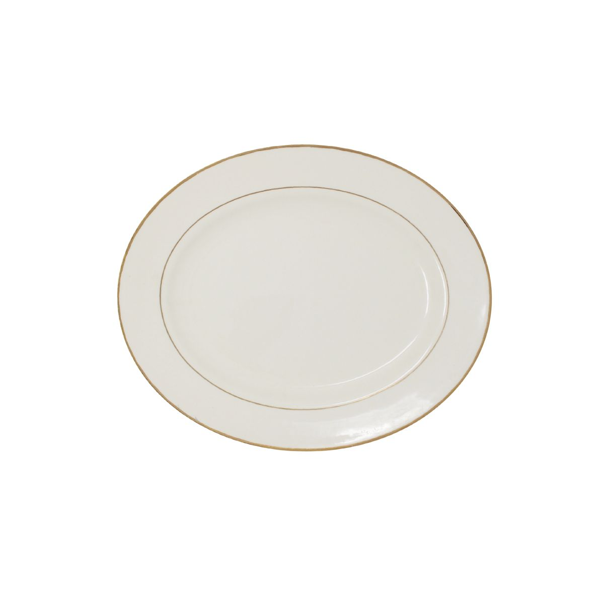 Platter Beige With Gold Band 9""