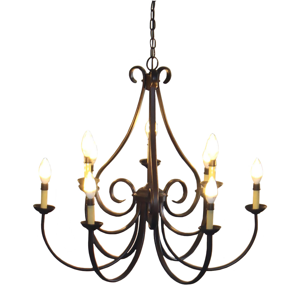Chandelier 9 Light Tannery Bronze