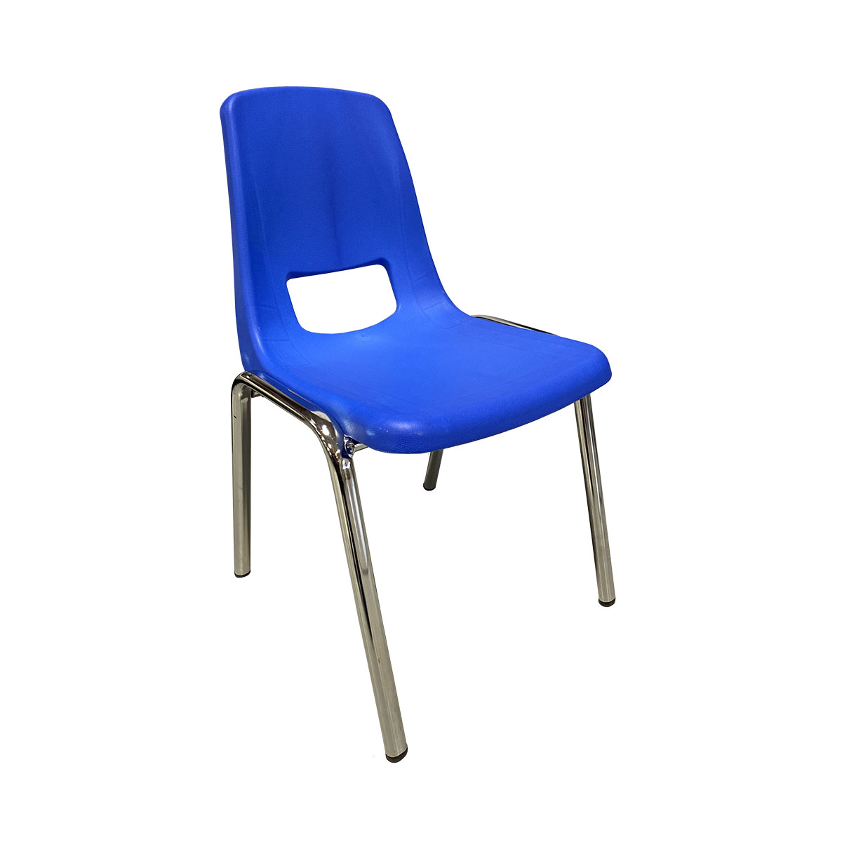 Chair Blue Seat Chrome Leg Child Size 14