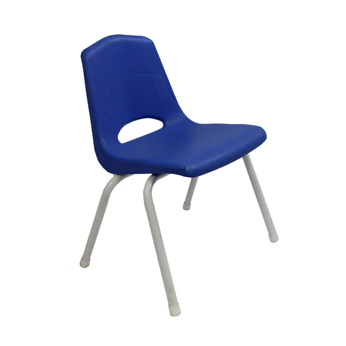 Chair Blue Seat White Leg Stacking Child Size