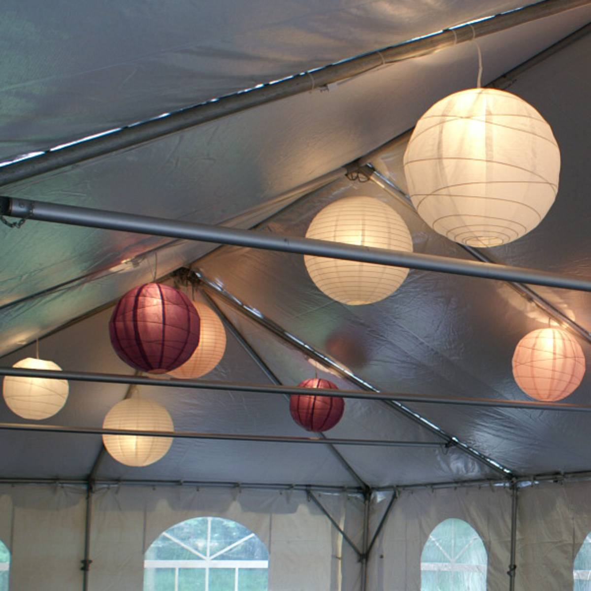 Lit Paper Lantern Installed in a Frame Tent