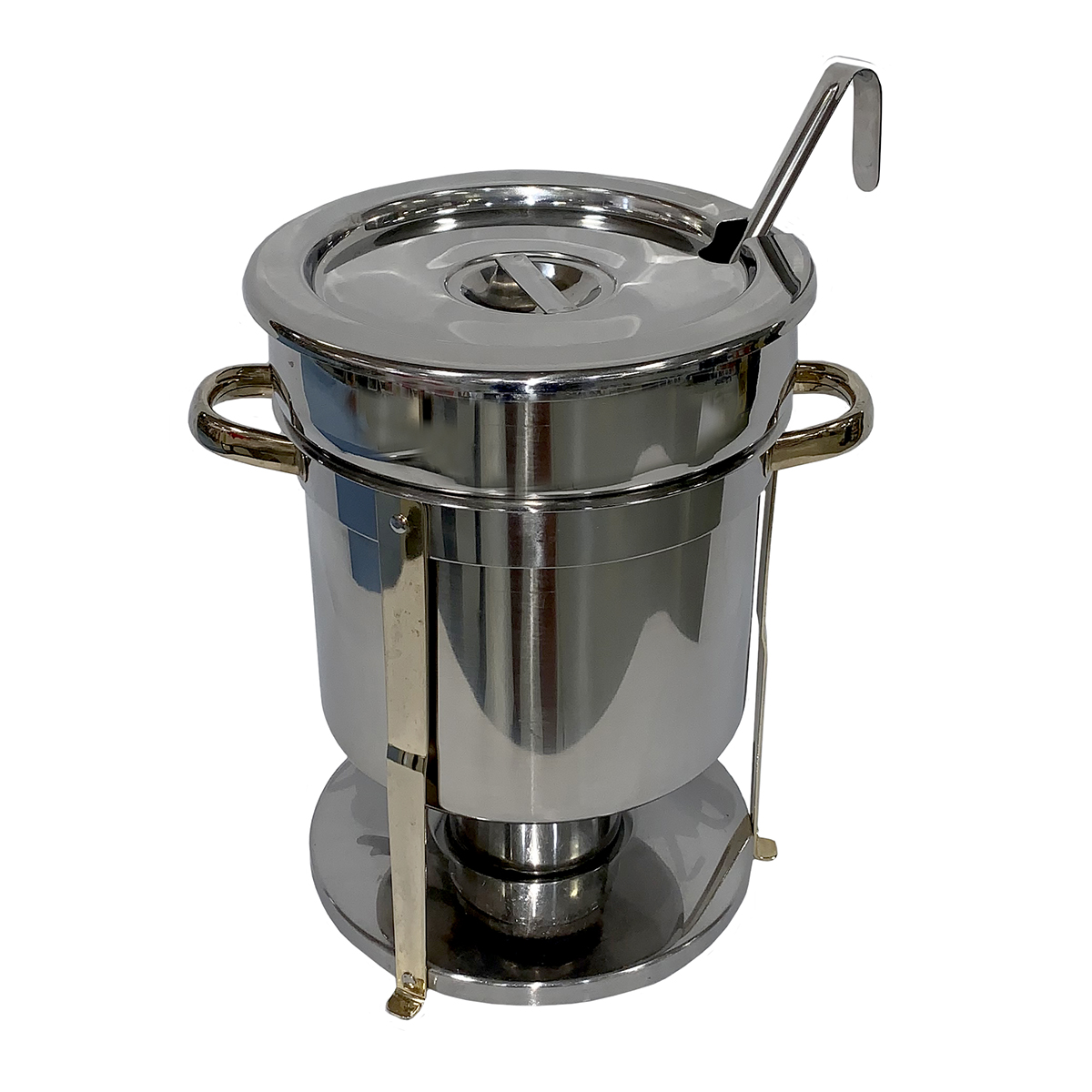 Soup Chafer 7qt With Brass Trim With 3oz Ladle