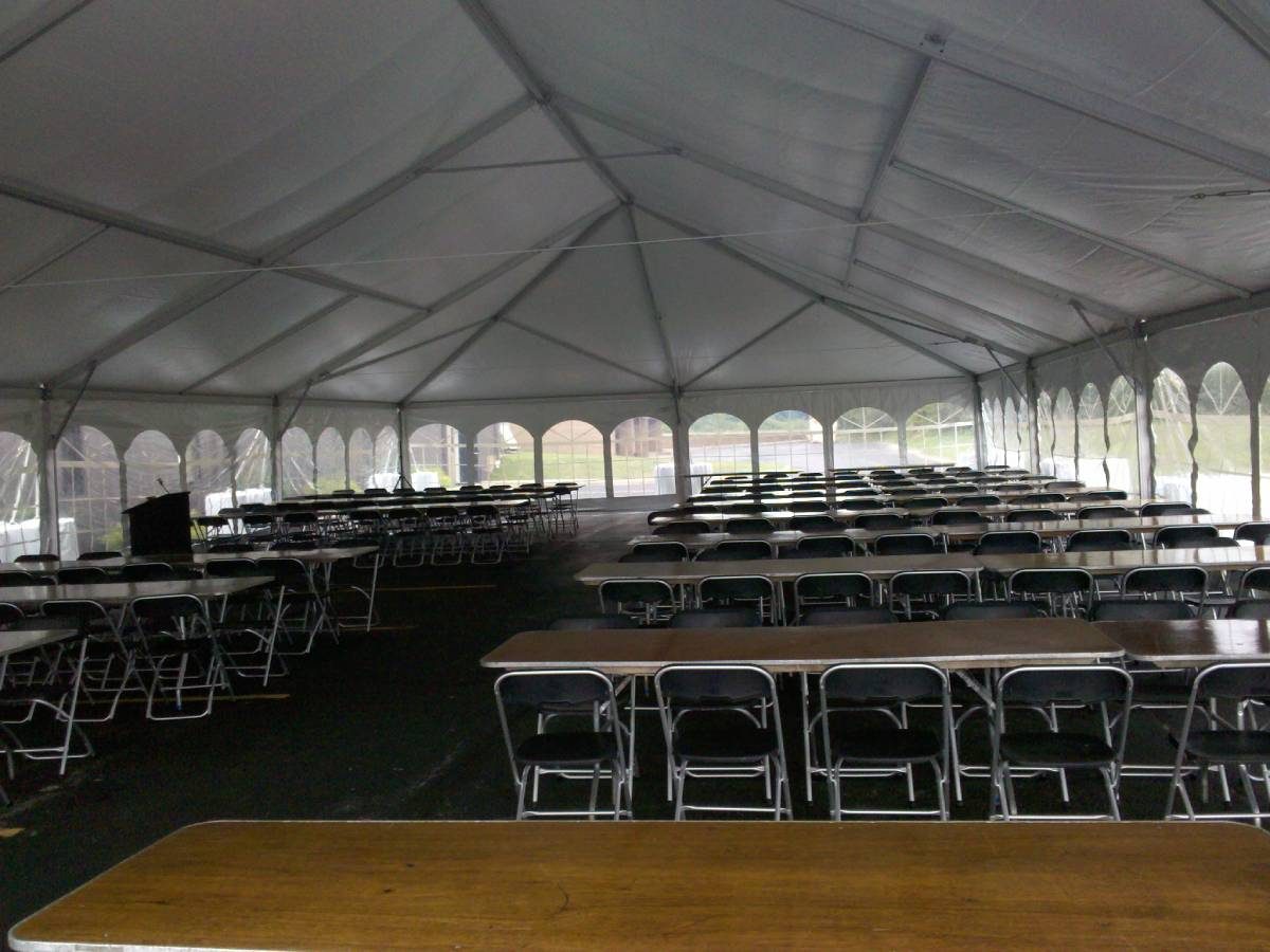 40x80 Navitrac Frame Tent With Cathedral Sides