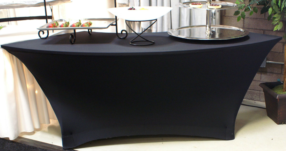 Serpentine Table With Spandex Black Tablecover