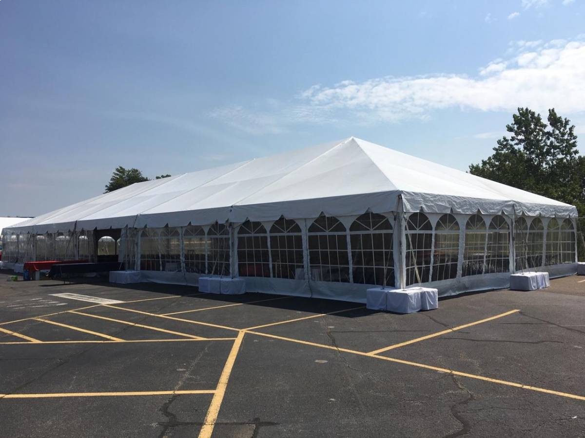 40x100 Navitrac Frame Tent With Cathedral Sides