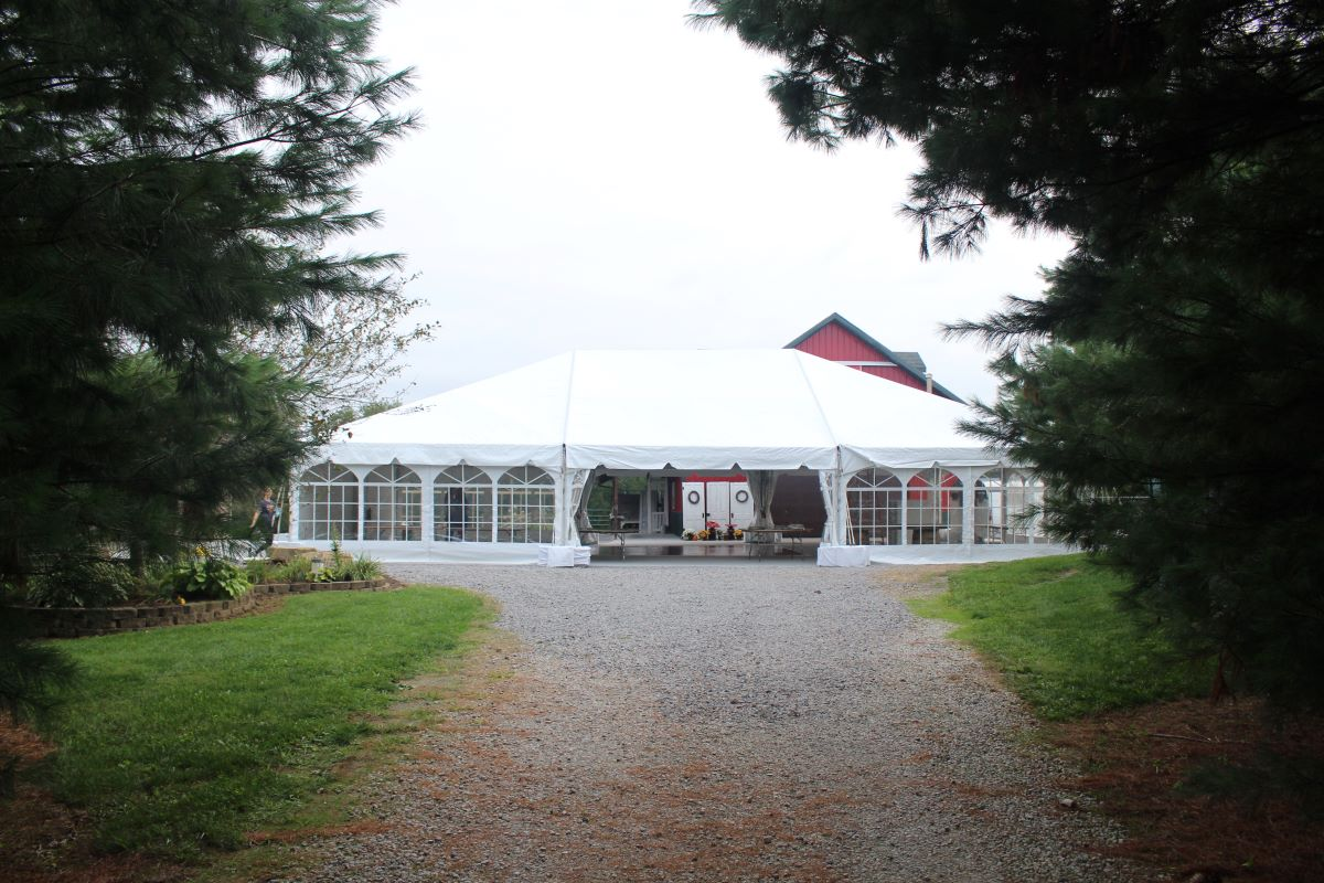 40x60 Navitrac Frame Tent With Cathedral Sides