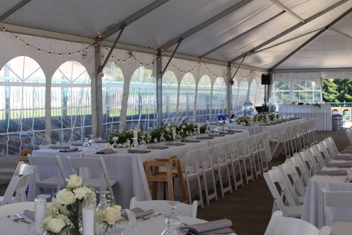 40x90 Navitrac Frame Tent With Cathedral Sides