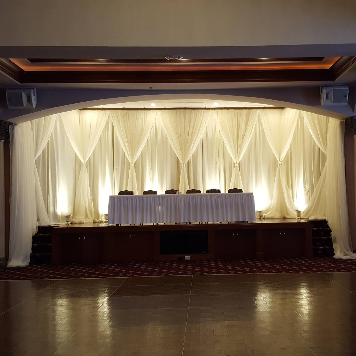 Custom Backdrop for La Pizzaria Crystal Room