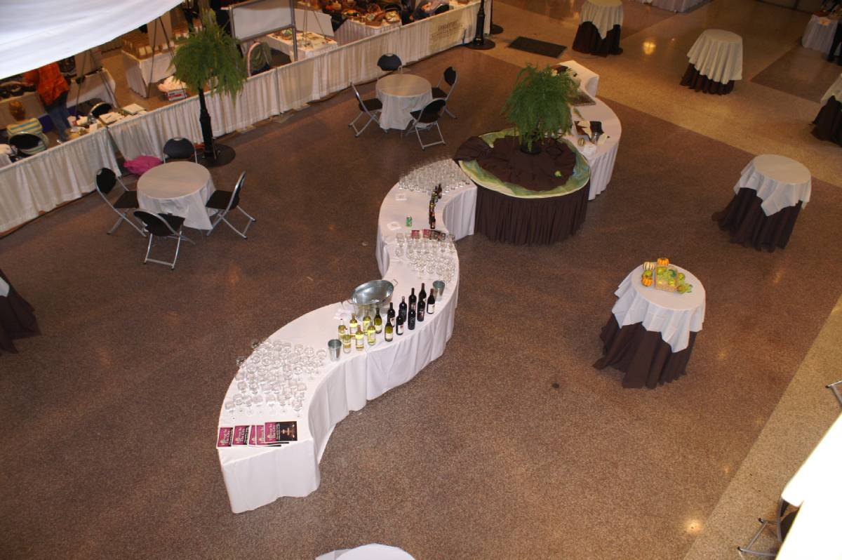 Multiple Serpentine Tables With A Round Table