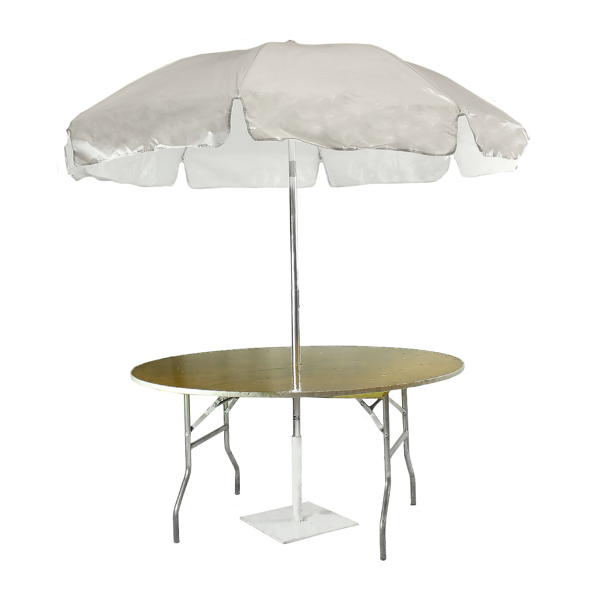 "Umbrella Table 60"" Round Wood Topped"