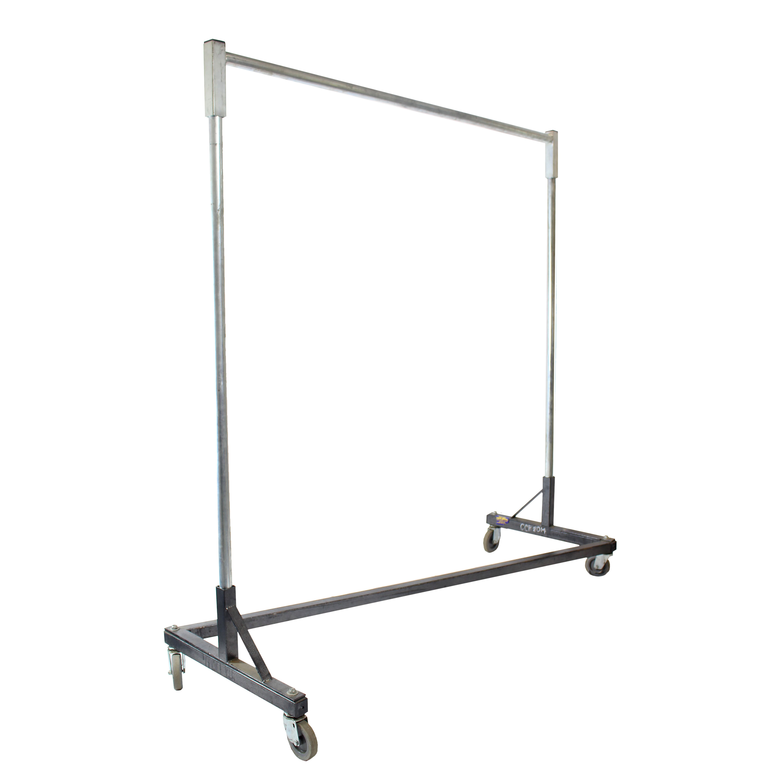 Z Coat Rack Grey Standard on Wheels with Hangers