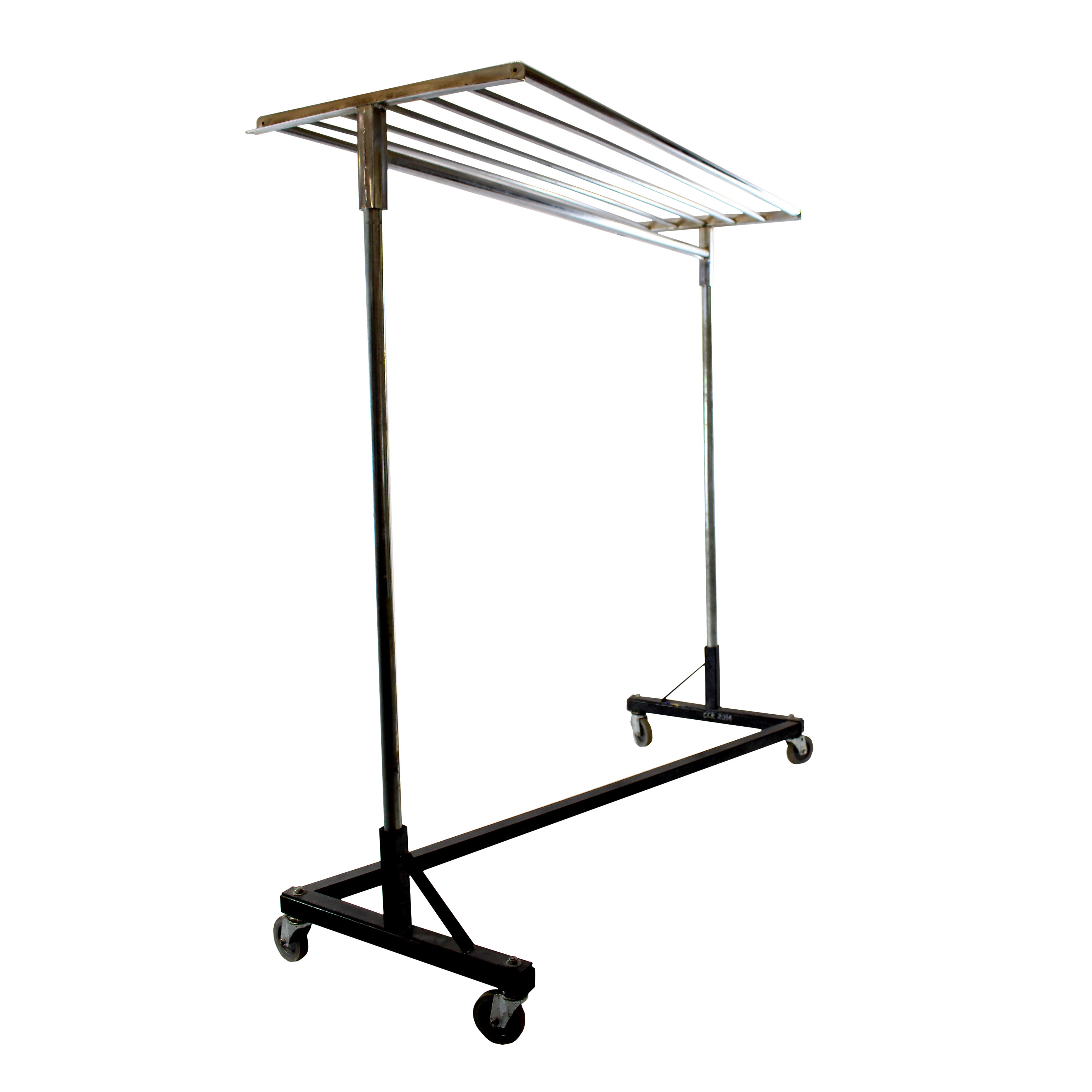 Z Coat Rack on Wheels with Shelf